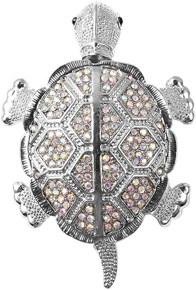 Simulated Mystic White Crystal in Silver Tone TJC Tortoise Brooch Pin Black Austrian Crystal