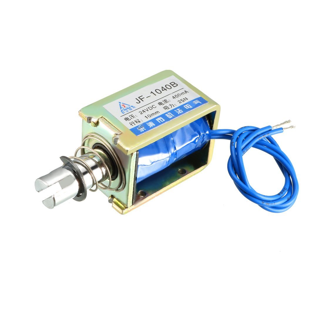 uxcell JF-1040B DC 24V 400mA 25N 10mm Pull Push Type Open Frame Linear Motion Solenoid Electromagnet
