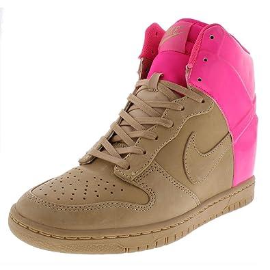 online retailer 87d22 da09d Nike Womens Dunk Sky Hi Vt Qs Leather Fashion Sneakers Tan 8 Medium (B,