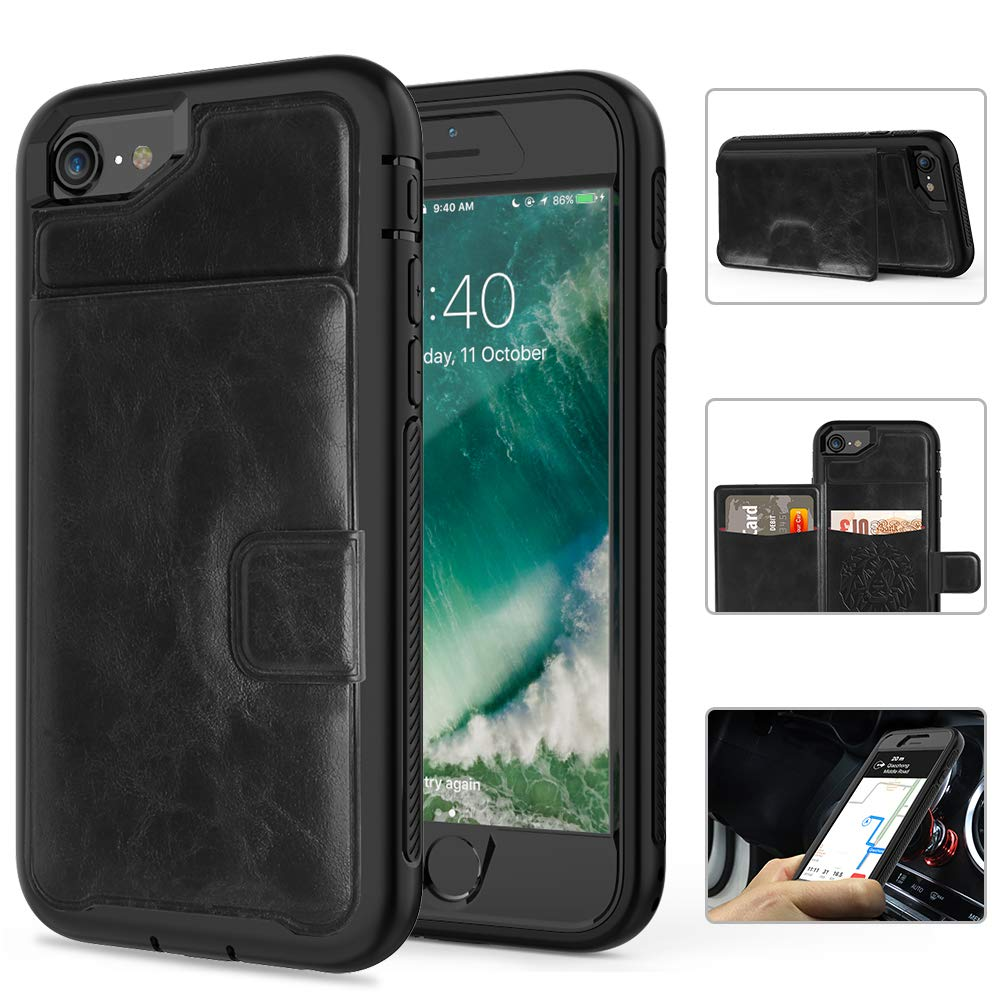SXcase iPhone 6/6s Case,Leather Card Holder Wallet Shockproof Protective Phone Case for Apple iPhone 7/8 (4.7 inch)[Black]