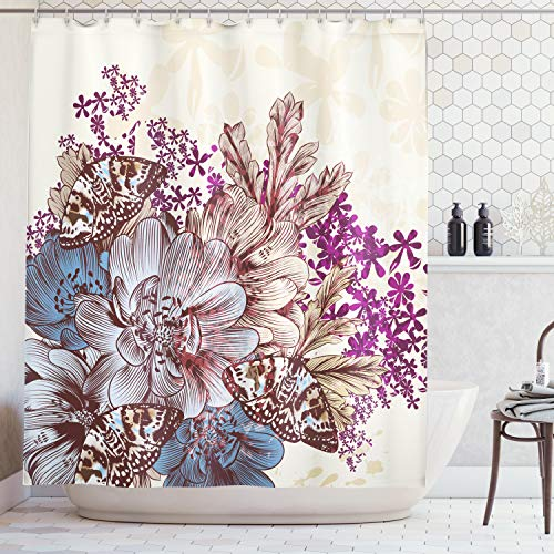 Ambesonne Floral Shower Curtain by, Hand Drawn Pastel Color Flowers with Butterflies Vintage Detailed Image, Fabric Bathroom Decor Set with Hooks, 84 Inches Extra Long, Blue Purple White Brown (Brown Curtains Purple)
