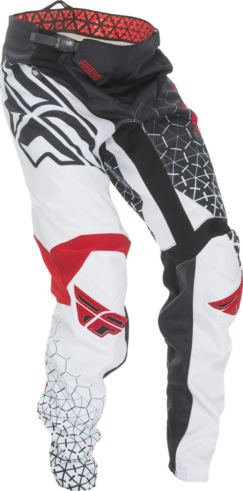 Fly Racing Unisex-Adult Kinetic Trifecta Bicycle Pants (Black/Red/White, Size 38)