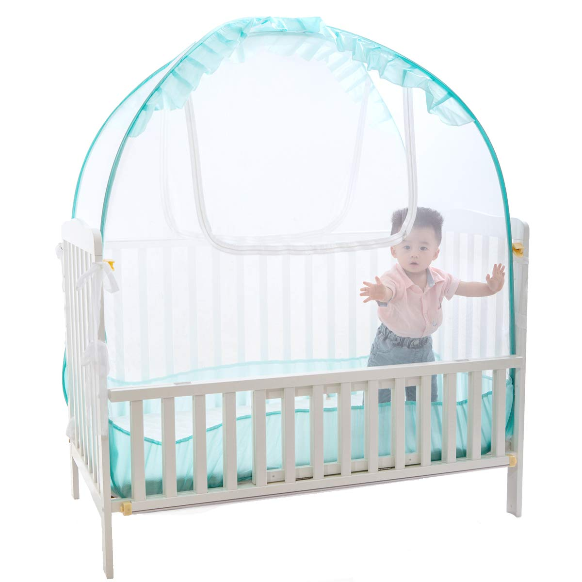 Baby Crib Pop up Tent, V-Fyee Baby Bed Mosquito Net Safety Tent Canopy Cover to Keep Toddler from Climbing Out and Keep Insects Out (Cyan, 56''L x 26''W x 48''H)