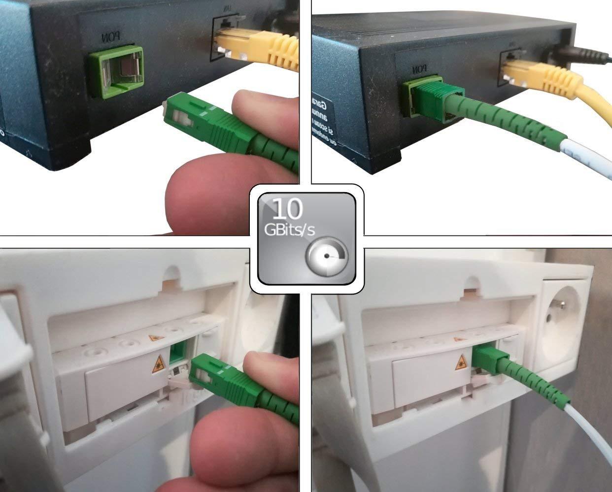 Blanc//Vert 3M C/âble /à Fibre Optique Monomode SC//APC /á SC//APC pour Orange Livebox SFR La Box Fibre et Bouygues Telecom Bbox