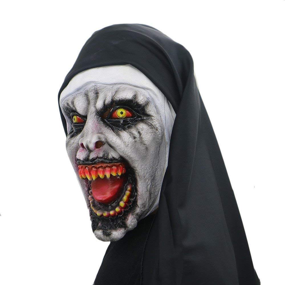 Amazon.com: Halloween Mask Nun Costume for Women-Mask with Veil Scary Zombie Mask Party Supplies: Home & Kitchen