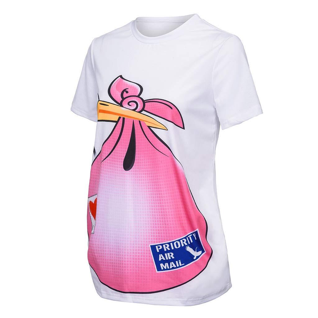 V/êTements De Maternit/é SUNNSEAN Mode Femme Enceinte T-Shirt Col Rond /À Manches Courtes Les Loisirs Impression De Mod/èLe Haut Blouse Tops