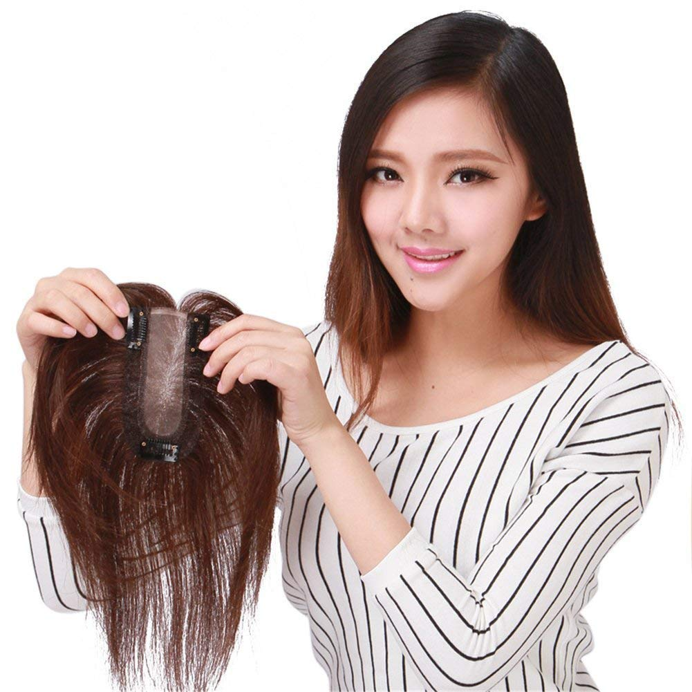 Remeehi Hand Made Clip in Human Hair Toppers Hairpiece for Loss and Thin Hair (9' light brown)