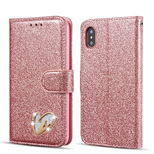 QLTYPRI iPhone XR Case, Wallet Case PU Leather TPU Bumper with Cute Inlaid Loving Heart Diamond [Wrist Strap][Card Holder] Stand Shockproof Anti-Scratch Flip Cover for iPhone XR - Rose Gold