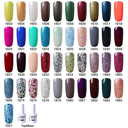 Lote de 10 pintauñas Semipermanentes, 10 colores, UV Gel LED Soak Off Nail, Colores brillantes: Amazon.es: Belleza
