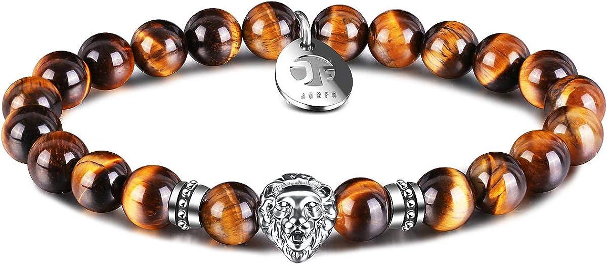 JOXFA Lion Pulseras para Hombres Mujeres, 8 mm de Piedras Preciosas Naturales Mala Beads Agate Bead Bracelet Healing Courage Charm Elastic Stretch Pulseras con Cuentas Regalo