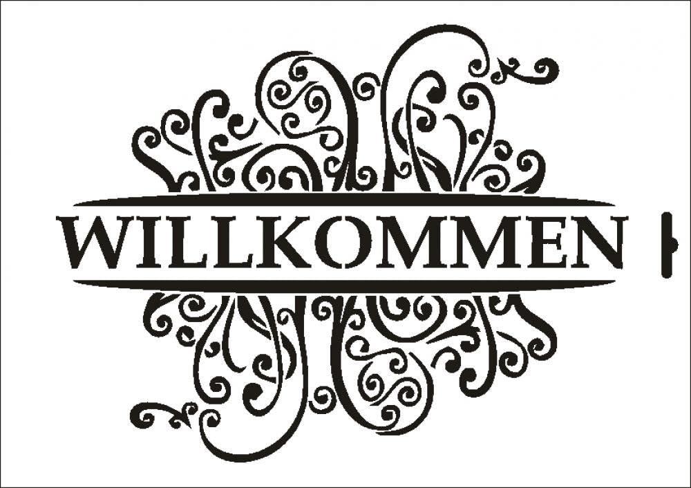 UMR-Design W-629 Willkommen Wand//Textilschablone Gr/össe A3