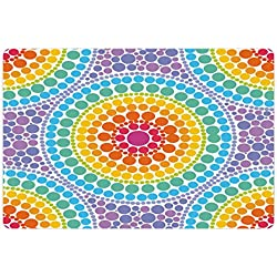 Lunarable Rainbow Pet Mat for Food and Water, Concentric Circles Retro Inspired Color Scheme Psychedelic Art Dotted Pattern, Rectangle Non-Slip Rubber Mat for Dogs and Cats, Aqua Multicolor