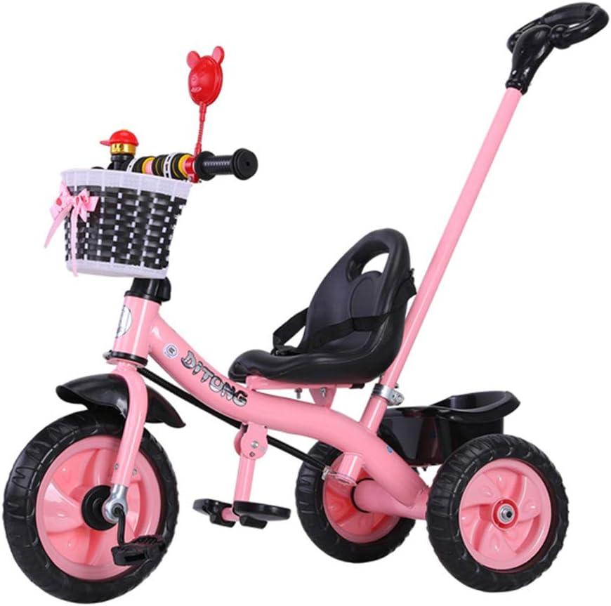 ZYT 4-in-1 Triciclo Bebé,con Mango Trike Smart Bici para Niños, Pedal Desmontable, Adecuado18 Meses - 5 Años,Arnés de Seguridad, Contenedor de Almacenamiento, Espejo, Timbre, Cesta