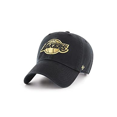 0cab3a77128 Los Angeles Lakers 47 Brand Metallic Clean Up Slouch Fit Dad Hat (Black)