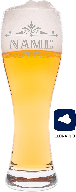 """Leonardo Bierkrug mit Gravur /""""Wunschname/"""" Bier Krug Glas graviert"""