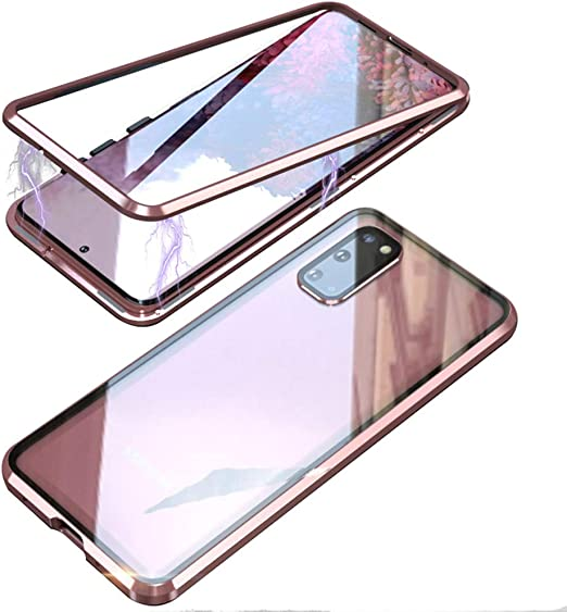 Camera Lens Protector One-piece Design 360/° Full Body protective Case,Pink Case for Samsung Galaxy S20 Plus,Magnetic Adsorpition Metal Bumper with Front and Back Transparent Tempered Glass Cover