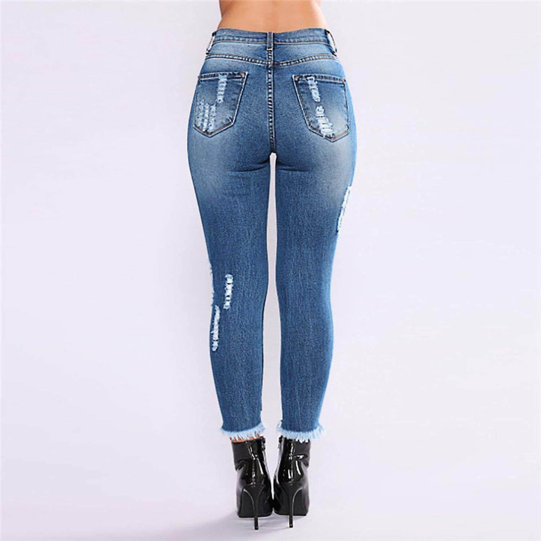 Qirong Waist Jeans Women Denim Hole Ripped Jean for Women ...