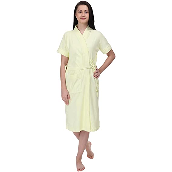 1495f6fd11 Red Rose Womens Terry Cotton Solid Yellow Bathrobe  Amazon.in ...