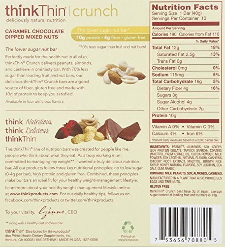 ThinkThin Caramel Chocolate Dipped Mixed Bar Nuts, 1.41 oz, 10 pk