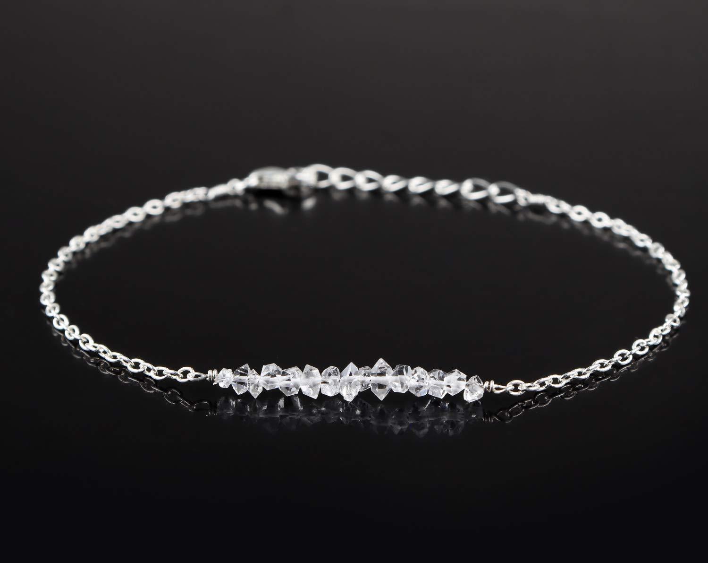 c5e5a297a16 Amazon.com: Raw Herkimer White Diamond Quartz Bracelet Dainty Boho Jewelry  925 Sterling Silver Chain April Birthstone: Handmade