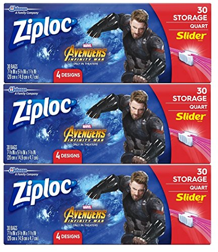 Lowest Prices! Ziploc Brand Slider Storage Bags Featuring Marvel Studios' Avengers: Infinity War Des...