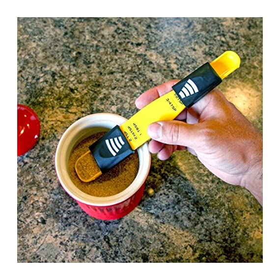 Home-X Adjustable Measuring Spoon. Yellow 2 THE ONLY MEASURING SPOON YOU'LL EVER NEED - Reduce kitchen drawer clutter by combining all teaspoon and tablespoon measurements into one handy tool. STURDY PLASTIC CONSTRUCTION - Easy to clean, and won't affect the flavors of your ingredients. Dishwasher safe. High-quality construction, long lasting and durable. ADJUST FOR ANY MEASUREMENT ¬- Simply slide the adjuster to your desired increment and scoop. Replaces 9 measuring spoons. One end measures 1/8 tsp, 1/4 tsp, 1/2 tsp, 3/4 tsp and 1 teaspoon. The other measures 1 tsp, 1-1/2 tsp, 2 tsp, 2-1/2 tsp, 1 tbsp.