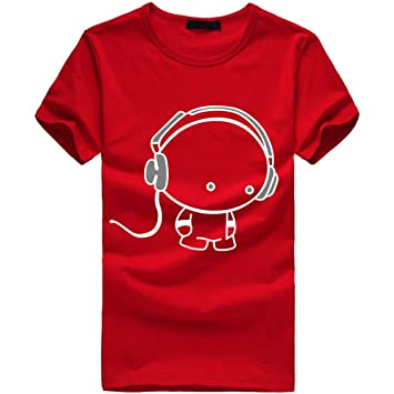 7b608d755503 Amazon.com   Snowfoller Fashion Men Cotton Shirts Summer Earphone Doll  Printed Cute Tees Casual Short Sleeve T Shirt Crew Neck Slim Fit  Lightweight Tops   ...