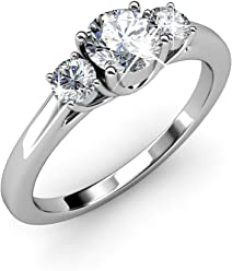 d72d3eaa7 Cate & Chloe Felicity 18k White Gold Plated Ring with Swarovski Crystals,  Beautiful Classic Sparkling