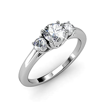 fb35e995a Cate & Chloe Felicity 18k White Gold Plated Ring with Swarovski Crystals,  Beautiful Classic Sparkling Three Stone Ring, Twilight Sparkle Wedding  Anniversary ...
