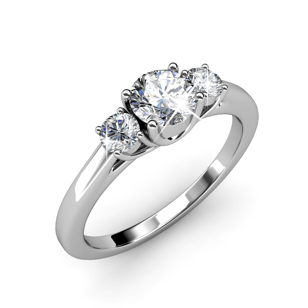 """Cate & Chloe Felicity """"Joy"""" 18k White Gold Plated Ring, Jewelry For Women, Ring, Stackable Rings, Gold Rings, Solitaire Ring, Engagement Ring, CZ Ring, Crystal Ring, Best Ring (8) - msrp $135"""
