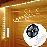 Motion Sensor Wardrobe Light,OriFiil Flexible 1.5M LED Strip,Battery Operated Warm White with Timer,Day/Night Sensor Switch for Closet,Cupboard,Under Cabinet,Stairs,Drawer,Bed Night Lighting