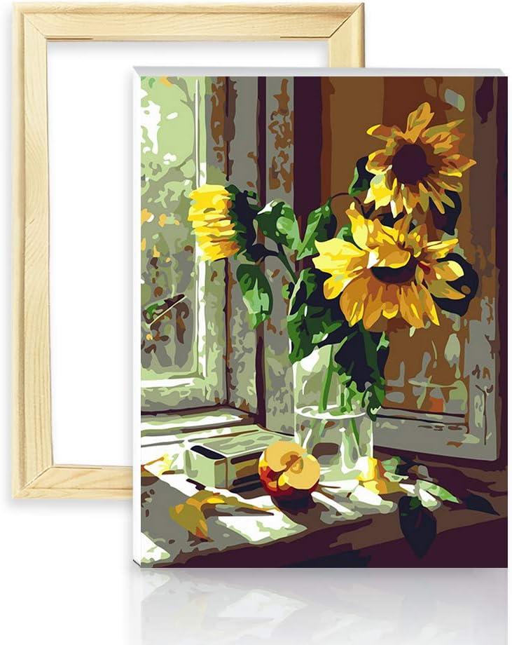 decalmile Pintura por Número de Kits DIY Pintura al óleo para Adultos Niños Girasol Caliente 16