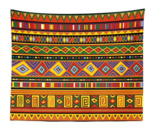 (Lunarable Tribal Tapestry King Size, Geometric Ethnic Aztec Style African Pattern Colorful Shapes Folk Art Design, Wall Hanging Bedspread Bed Cover Wall Decor, 104 W X 88 L Inches, Multicolor )