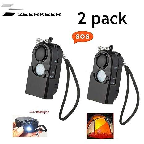 ZEERKEER Mini Personal Alarm infrared alarm With LED Flashlight, Emergency Alert And Passive Infrared (PIR) Motion Detector Alarm 120 dB Alarm For ...