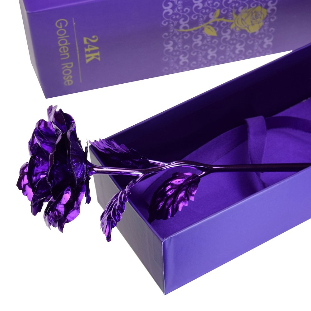Purple Rose, ProCIV Gold Foil 24k Rose Flowers in Gift Box, Best Gift for Mother\'s Day, Valentine\'s Day, Wedding Day, Birthday, Christmas, Thanksgiving, Home Decor (Purple)