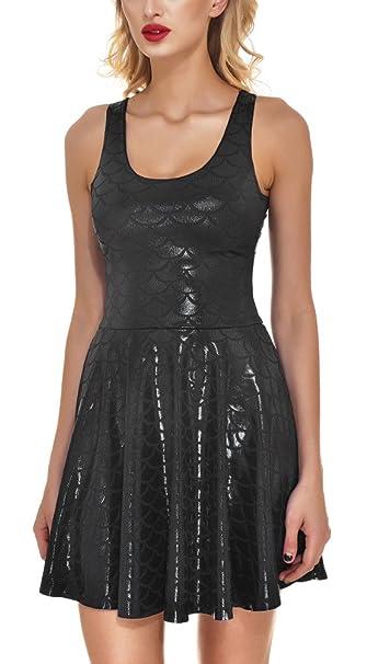 66ed4f67d66c Sexy Knee Length Reversible Shiny Mermaid Skater Dresses for Girls Black M