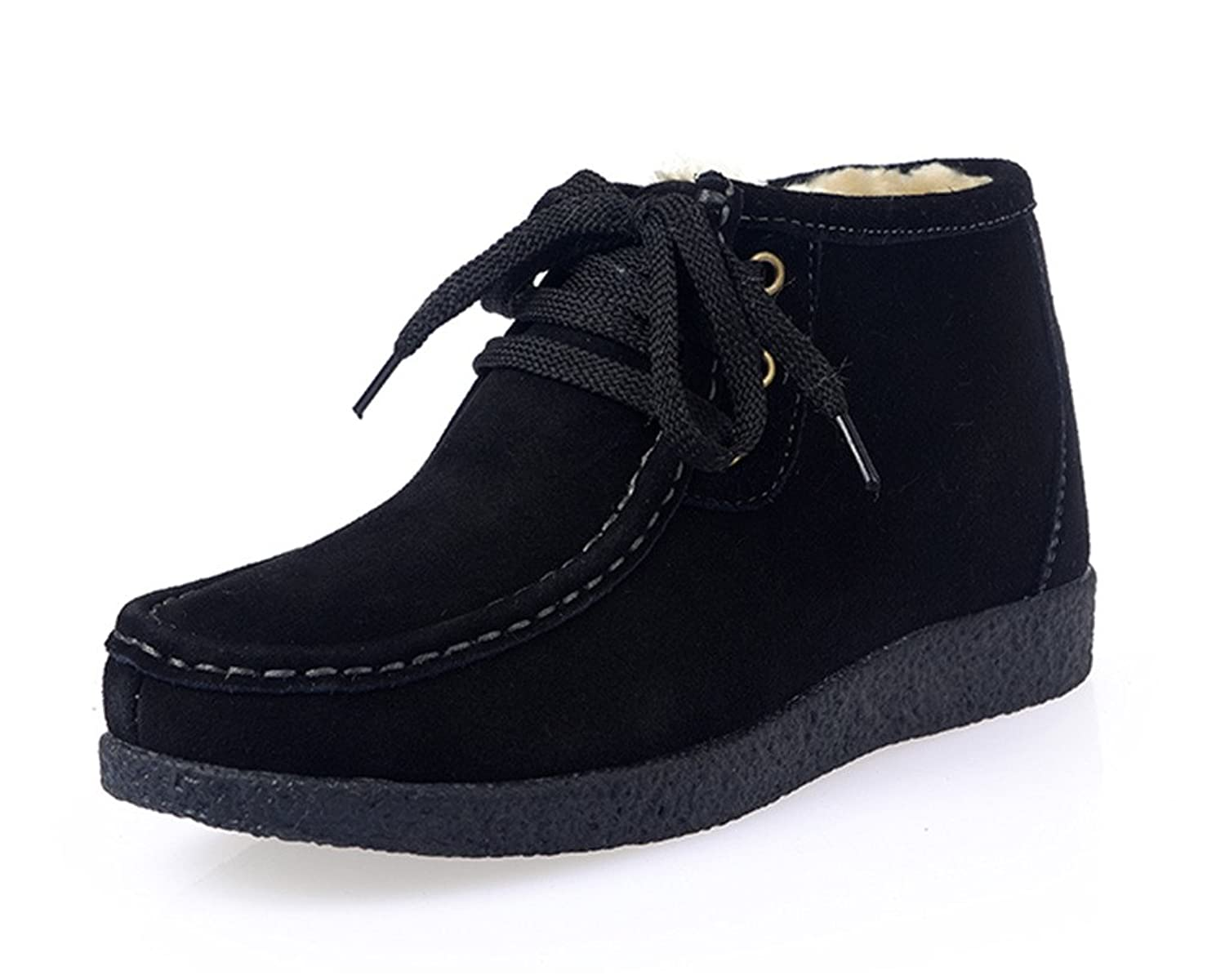 SUNROLAN Beacon Women's Suede Lace-Up Chukka Moccasin Boot Faux Fur Lined Winter Snow Booties