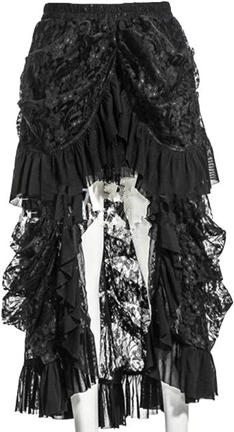 ZhuiKun Mujer Encaje Alto Bajo Steampunk Asimétrico Falda Negro ...