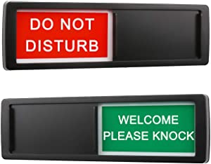 Do Not Disturb Welcome Please Knock Sign for Home Office Restroom Conference Hotel Hospital,Non-Scratch Magnetic Slider Privacy Indicator Sign,7'' x 2''-Black
