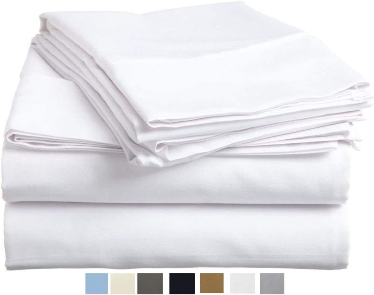 100% Long Staple Cotton 4 Pieces Sheet Sets, 600 TC Extra Soft -  Breathable & Cooling Bedding Sheets Fits Upto 16 Inches Deep Pocket Mattress, Size: Twin XL, Color: White Solid