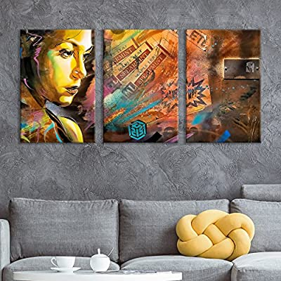 3 Panel Canvas Wall Art - Triptych Street Graffiti Series - Spearmint Woman - Giclee Print Gallery Wrap Modern Home Art Ready to Hang - 16