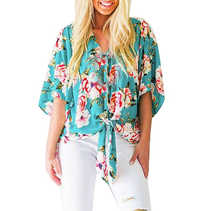8935258cb96 Womens Casual Floral Printing Chiffon Blouses Half Sleeve Deep V Neck Tie  Front Loose Tops Shirts