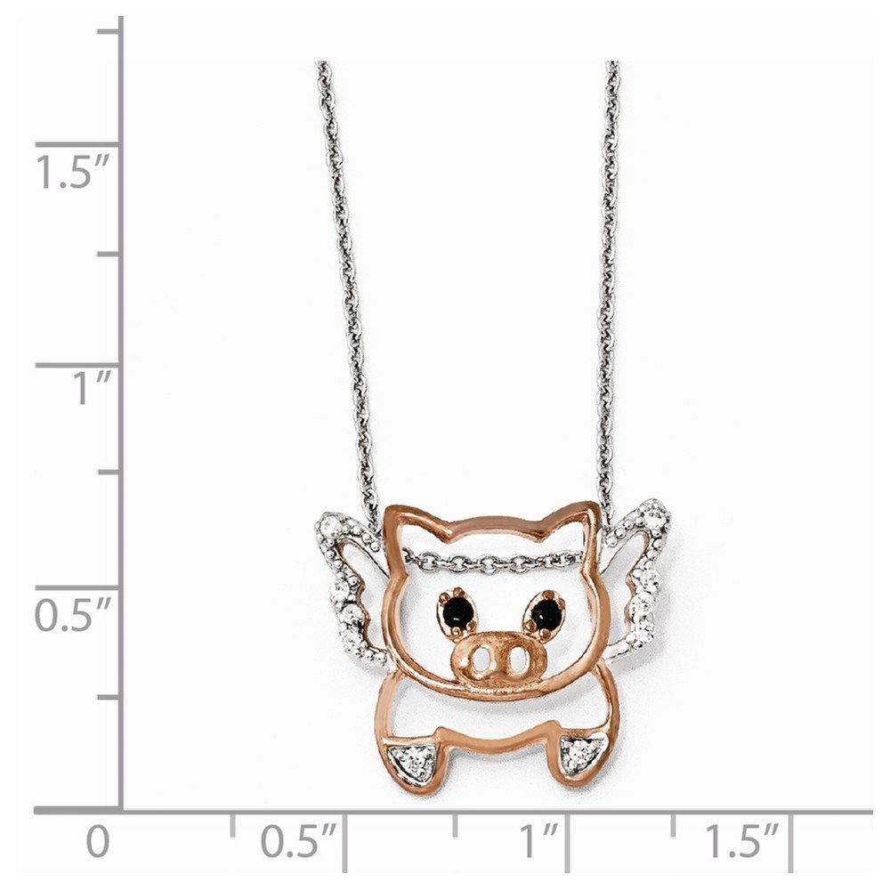 Cheryl M Sterling Silver 14k Rose-Gold-Plated Synthetic CZ Flying Pig 18in Necklace