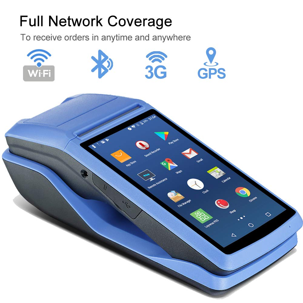 5.5 inch Touch Screen support 3G WiFi BT GPS NFC for Restaurant Eatery Diner Snack Bar Cafeteria Retail Warehouse to Print Receipt Mobile Handheld Printer Android POS Terminal Receipt Printer MUNBYN