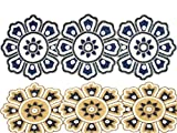 Linen Clubs 2Pack Hand Made Beaded Table Runner 13x36 inch in Charcoal Navy Gold ivory colors,produced by skilled village Artisans in India - A Beautiful Complements to Dinner Table Decor Offered