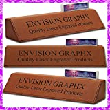 Personalized Custom Engraved Brown Rawhide Leatherette Office Desk Name Plate with Card Holder Free Engraving