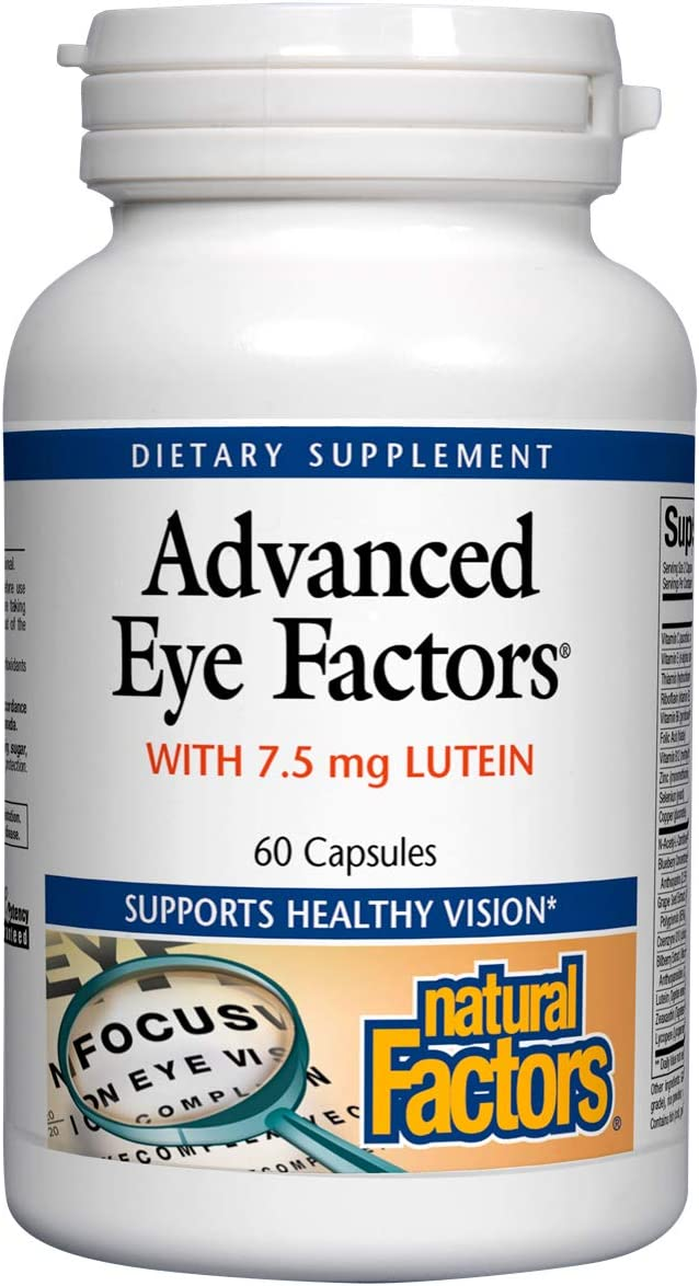 Natural Factors, Advanced Eye Factors, Antioxidant Support for Healthy Vision with Lutein and Zeaxanthin, 60 capsules (30 servings)
