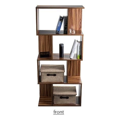 Bon 4 Shelf Bookcase Bookshelf 4 Tier Book Storage Rack Space Saving  Freestanding Wood Unit Brown