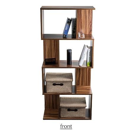 4-Shelf Bookcase Bookshelf 4 Tier Book Storage Rack Space Saving Freestanding Wood Unit Brown for Hallway Living Room