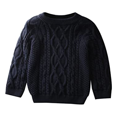 16ac3faed2da Amazon.com  Toddler Baby Boy Girl Cable Knit Pullover Sweater Cotton ...